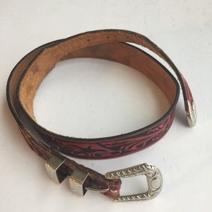VINTAGE CHAMBERS TOP GRAIN RED LEATHER BELT